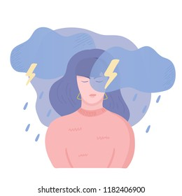 Sad unhappy girl, angry and stressed. Anger, stress and bad mood concept. Dark clouds, rain, lightning and thunderstorm above the woman head. Vector illustration, cartoon flat style.