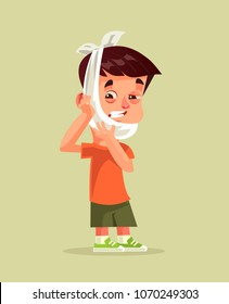 Sad unhappy little boy with suffering face expression holding head with hand. Toothache dental pain patient somatology treatment caries broken tooth concept. Vector flat cartoon graphic design isolate