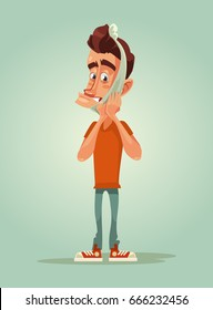 Sad unhappy man character with toothache and bandage. Vector flat cartoon illustration