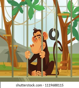 Sad unhappy monkey chimpanzee animal victim character sitting in cage. Cruel illicit treatment of animals flat cartoon graphic design concept illustration
