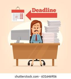 Sad unhappy office worker woman crying. Project deadline. Vector flat cartoon illustration