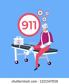 Sad unhappy patient man character sitting on stretcher with broken leg and head. 911 emergency service aid disaster accident help concept. Vector design graphic flat cartoon isolated illustration
