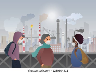 Sad and unhappy people wearing protective face masks on factory pipes with smoke on background. Industrial smog, fine dust, air pollution and pollutant fog gas vector illustration.