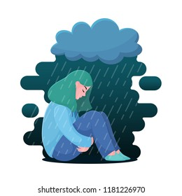 Sad, unhappy teenage girl, young woman sitting under rain, depression concept, flat vector illustration isolated on white background. Depressed, unhappy girl, woman sitting under rain cloud