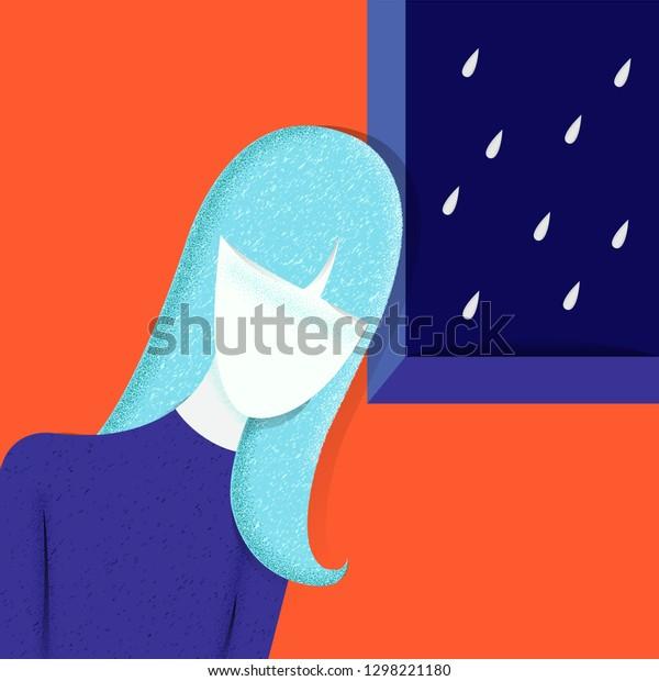 Sad, unhappy teenage girl, young woman home rain. depression concept. Depressed, unhappy girl, rain cloud. Vector illustration