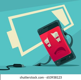 Sad unhappy tired smart phone character with low battery energy. Vector flat cartoon illustration