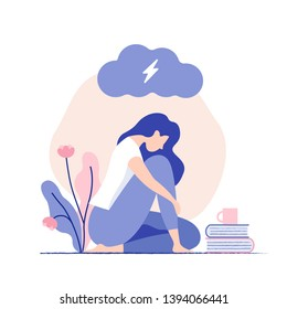 Sad, unhappy young woman sitting under dark cloud. Psychology, depression, bad mood, stress. Flat vector illustration.