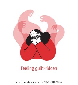 Sad unhappy young woman surrounded by hands with guilt. Depressed woman covers her face by hand. Flat cartoon style vector illustration of the Symptoms of Depression.