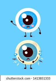Sad unhealthy sick and happy smiling healthy strong human eyeball organ. Vector modern style cartoon character illustration icon. Isolated on white background. Eye pain concept