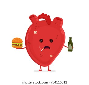Sad unhealthy sick heart with bottle of alcohol and smoking cigarette,burger. Vector modern style cartoon character illustration icon design. unhealthy heart concept.