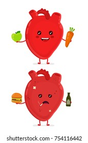 Sad unhealthy sick heart with bottle of alcohol and smoking cigarette,burger and strong healthy happy heart with carrot and apple. Vector modern cartoon character illustration icon design.