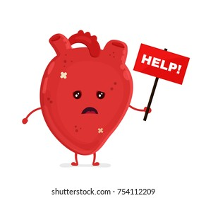 Sad unhealthy sick heart mascot with nameplate help.Heart attack face.Vector style cartoon character illustration icon design. Help unhealthy,healthy heart face,damage,attack,ache,pain,illness concept