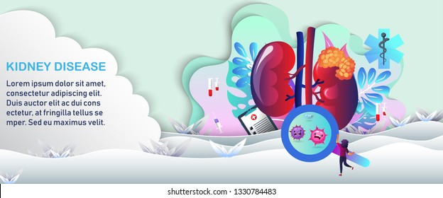 The sad unhealthy sick kidney in a natural and healthy environment The hearts of a healthy life. Paper cut with the green-white background. Help an unhealthy heart concept. Vector illustration
