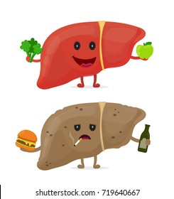 Sad unhealthy sick liver with bottle of alcohol and smoking cigarette,burger and strong healthy happy liver with broccoli and apple. Vector modern style cartoon character illustration icon design.