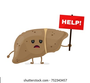 Sad unhealthy sick liver with nameplate help. Vector modern style cartoon character illustration icon design. help unhealthy liver concept.