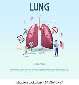 The sad unhealthy sick lung asks for help and needs for treatment blue-white background. Modern style cartoon character illustration icon design. help unhealthy heart concept. Vector illustration