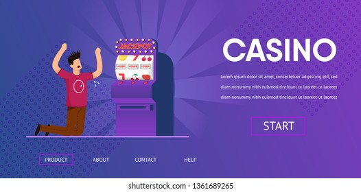 Sad Unlucky Man Cry Lose Cash Slot Machine Loser Vector Illustration. Jackpot Risk Bad Luck Money Loss Gambling Addiction Gambler Concept. Las Vegas Online Internet Casino Banner Website
