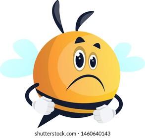 Sad and upset bee, illustration, vector on white background.