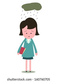 Sad and upset businesswoman, standing alone in desperated emotion with cloud and rain. This character can be used presenting to people who are lonely, depressed, failed, lost job, or broken heart.