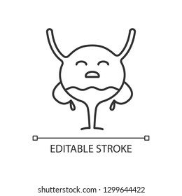 Sad urinary bladder character linear icon. Thin line illustration. Unhealthy urinary tract. Urinary system diseases. Cystitis. Contour symbol. Vector isolated outline drawing. Editable stroke