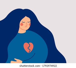 Sad woman with a broken heart. The young upset female has problems in relationship. The girl is feeling hurt. Hand drawn style vector design illustrations.