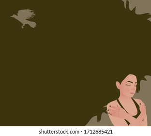 A sad woman with a dark spot of languid thoughts instead of hair and a flying bird as a symbol of hopelessness. Illustration on the topic of mental depression in adolescents.