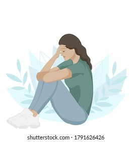 Sad woman in depression. Sad girl sitting unhappy. Lonely women sitting on the floor suffering from depression or relationship breakdown. Flat vector illustration.