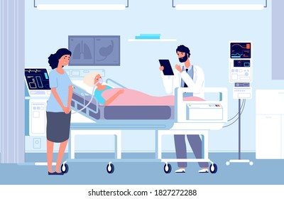 Sad woman in hospital. Intensive care unit, woman in oxygen mask and doctor. Artificial lung ventilation, elderly sick vector medical illustration