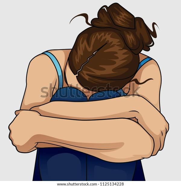 Sad woman hug her knee and cry