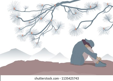 sad woman sit on cliff view with japanese pine brance and mountain lanscape