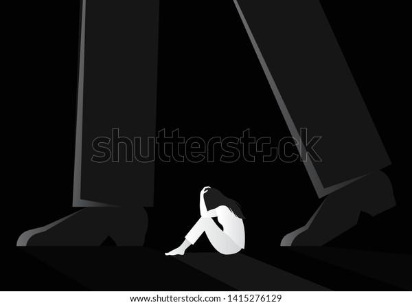 femme triste assise isolée entre un homme marchant sur une illustration vectorielle. violence à l'égard des femmes. concept de harcèlement sexuel