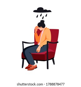 Sad woman sitting in a chair. Depression and bad mood concept.