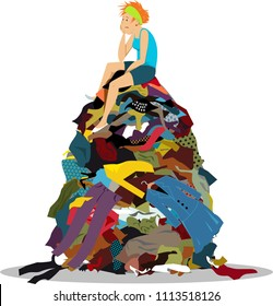 Sad woman sitting on a big pile of useless clothes having nothing to wear, EPS 8 vector illustration