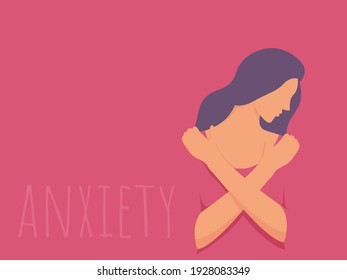Sad woman that feels anxiety, Concept of psychological problem, mental illness and violence.