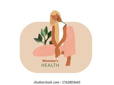Sad woman. Urinary incontinence, cystitis, involuntary urination woman vector illustration. Bladder problems. Menopause, women's health, genital infection, hygiene. Female problems