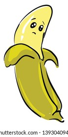 A sad yellow pealed open banana vector color drawing or illustration
