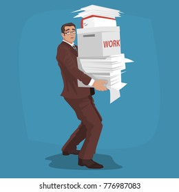 Sad young businessman or manager carries working papers, box and large pile of papers. Work at home or deadline concept. Simplistic realistic style. Vector illustration