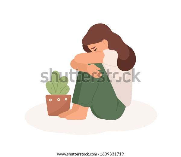 Sad young girl flat vector illustration. Bad mood, melancholy, sorrow, negative emotions concept. Crying woman hugging her legs and flowerpot cartoon character isolated on white background.