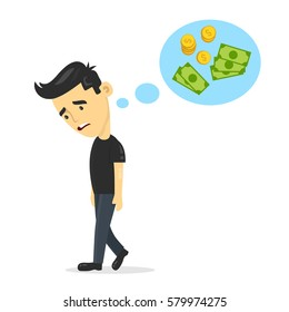 sad young guy without work dreaming, thinks about money. vector flat cartoon man character design illustration. Isolated on white background. unemployment business concept, unemployed