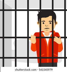 Sad Young Handsome Guy Inside Jail