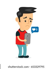 Sad young man holding smartphone mobile phone with sign no 0 likes.Vector modern flat style cartoon character illustration icon design.Isolated on white background.failure in social network concept