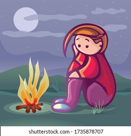 sad young man on campfire in forest on full moon