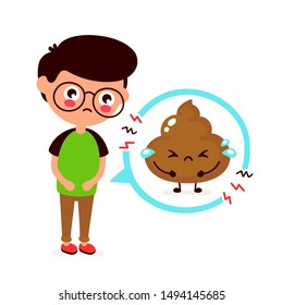 Sad young man with poop problem character. Vector flat cartoon illustration icon design. Isolated on white background. Diarrhea problem,ache concept