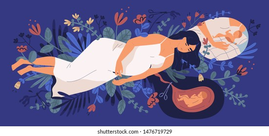 Sad young pregnant woman lying on blooming flowers, thinking of her unborn baby and making choice. Concept of abortion, unhappy pregnancy, maternal health. Flat cartoon colorful vector illustration.