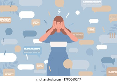 Sad young woman covers ears with hands to stop information noise vector flat illustration with speech bubbles. Fake news, advertising noise, disinformation, raising a panic concept.