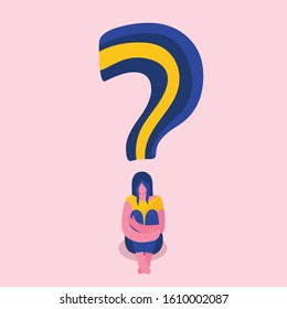 A sad young woman is sitting on the floor.She wrapped her arms around her legs.Melancholy,depression,oppression,psychological problems and questions.Psychotherapy.Psychology.Flat vector illustration