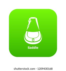 Saddle bag icon green vector isolated on white background