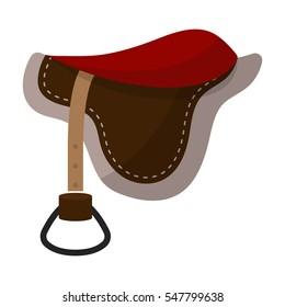 Saddle icon in cartoon style isolated on white background. Hippodrome and horse symbol stock vector illustration.