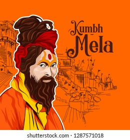 Sadhu saint of India for grand festival and Hindi text Kumbh Mela is a mass Hindu pilgrimage of faith in which Hindus