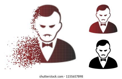 Sadly vampire icon in sparkle, pixelated halftone and undamaged whole versions. Fragments are combined into vector sparkle vampire icon. Person face has desperate feeling.